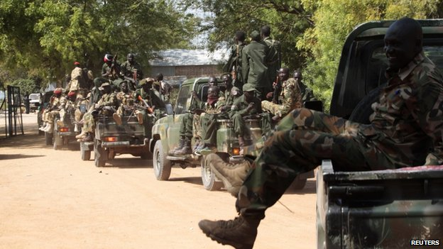 South Sudanese forces in Bor on Wednesday a day after recapturing the town