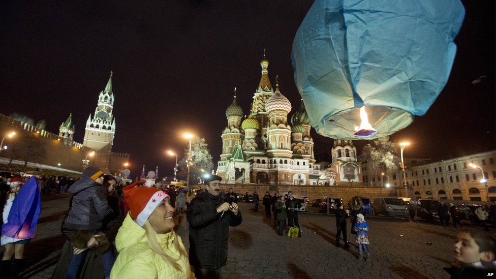 Sky lantern launched from Red Square, Moscow