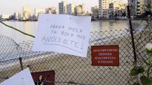 a note left on the fence around Varosha