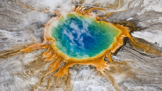Aerial view of Grand Prismatic thermal spring in Yellowstone National Park