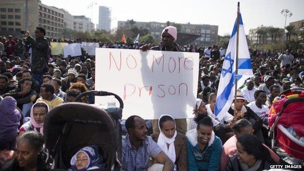 Protesters in Rabin Square, Tel Aviv, 5 Jan
