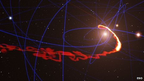 A gas cloud being 'stretched like spaghetti' by the black hole's gravity