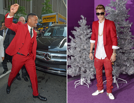 Will Smith and Justin Bieber in red suits
