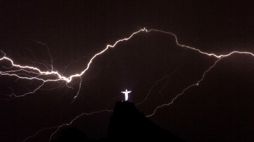 Christ Redeemer Lightning Strike