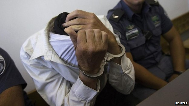 Yitzhak Bergel attempts to conceal his identity during a court appearance in Jerusalem in August 2013