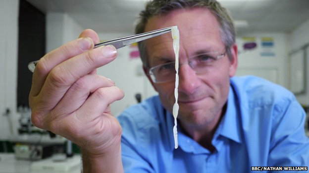 Michael Mosley with a human tapeworm