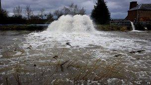 Flooding at Burrowbridge on the Somerset Levels