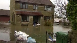Flooded house in Lyng, Somerset