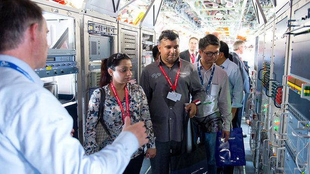 Visitors to the A350 XWB MSN3 test aircraft at the Singapore Airshow, Feb 2014