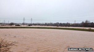 Flooded fields near Exeter