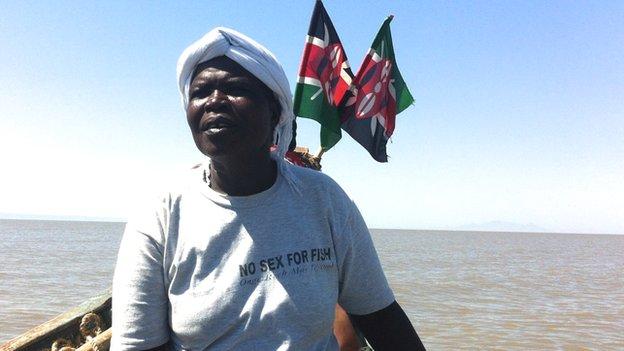 Agnes Auma on her boat on Lake Victoria, Kenya