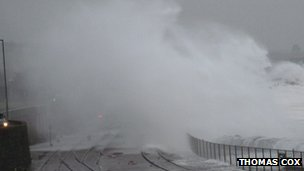 Penzance railway station being hit by waves. Pic: Thomas Cox