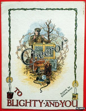Cheero To Blighty and You Christmas Card during World War I c 1914
