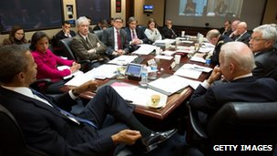 President Barack Obama chairs a meeting with security advisers. Photo: 3 March 2014
