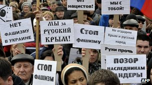 People take part in a rally in the southern city of Rostov-on-Don, on 4 March 2014, in support of ethnic Russians in the Crimea and Eastern Ukraine.