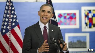 US President Barack Obama comments on the situation in Ukraine following a tour of a classroom at Powell Elementary School in Washington, DC, on 4 March 2014.
