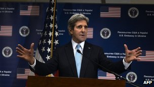 US Secretary of State John Kerry gestures during a press conference held at the US Embassy in Kiev on on 4 March 2014.