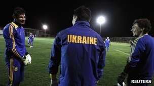 Ukraine's players practice during a training session in Ayia Napa village in Cyprus on 4 March 2014.