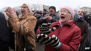 Pro-Russian activists stage a rally in front of the regional state administration building in the eastern industrial city of Donetsk on 4 March 2014.