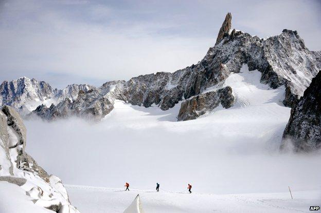 Climbers near Dent du Geant, Mont Blanc