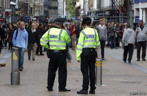 Police patrol in city centre