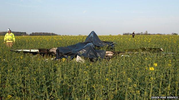 Scene of YAK 52 crash