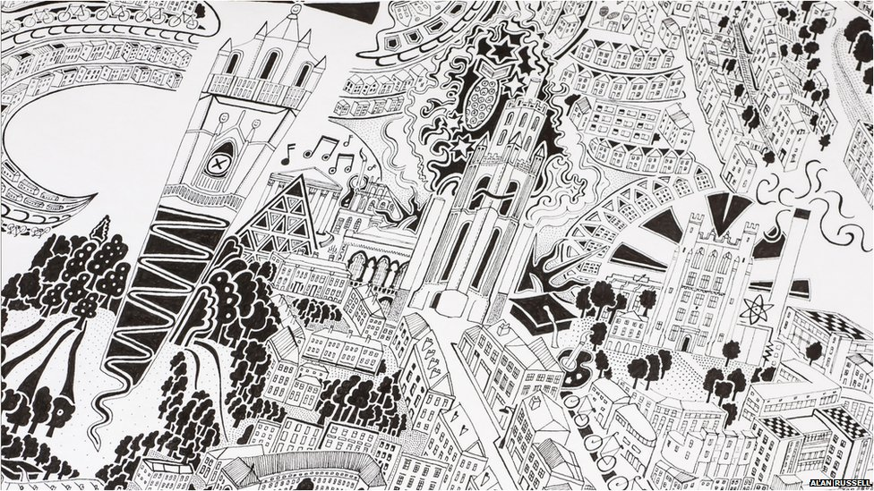 Gareth Wood hand-drawn map Bristol