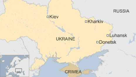 BBC map of cities in eastern Ukraine