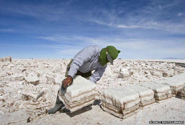 Harvesting salt crust in Salar de Uyuni