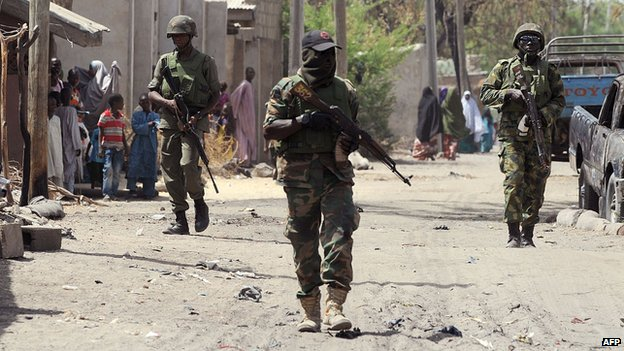 Nigerian forces on patrol in Borno state, April 2013