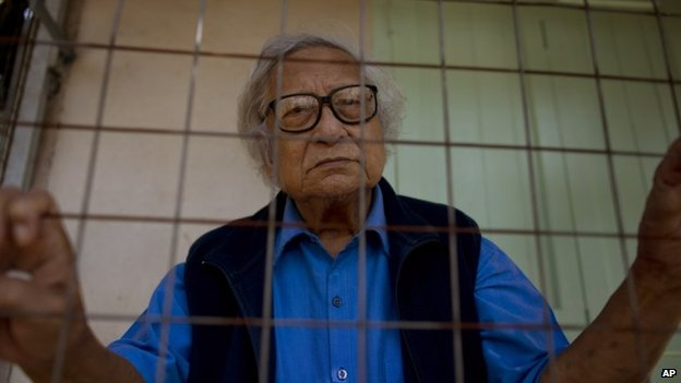 Win Tin, a former political prisoner and an opposition party stalwart, pictured on 24 October 2013