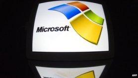 Microsoft logo on a tablet PC