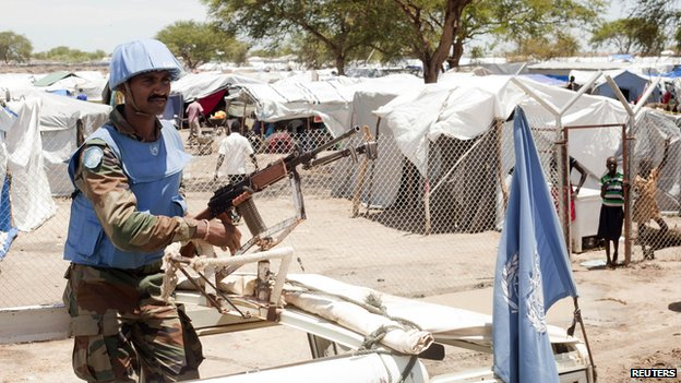 UN peacekeeper keeps guard the Bor camp for the internally displaced in Jonglei state, South Sudan, on 29 April 2014.