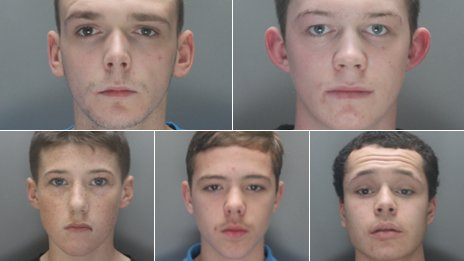 Clockwise from top left: Reese O'Shaughnessy, Andrew Hewitt, Keyfer Dykstra, Corey Hewitt, Joseph McGill