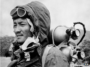 File photo dated 30/06/1953 of Sherpa Tenzing, wearing the clothing and oxygen equipment in which he and Edmund Hillary reached the summit of Mount Everest.