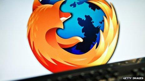 Mozilla logo and keyboard