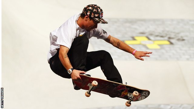 Pedro Barros of Brazil performing during the X-Games