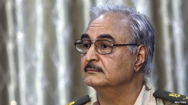 General Khalifa Haftar attends a news conference at a sports club in Abyar, a small town to the east of Benghazi in this May 17