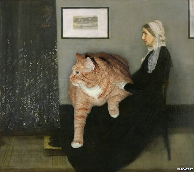 Arrangement in Grey, Black and Ginger. Whistler's Mother and the Cat, based on James Abbott McNeill Whistler's Arrangement in Grey and Black No 1