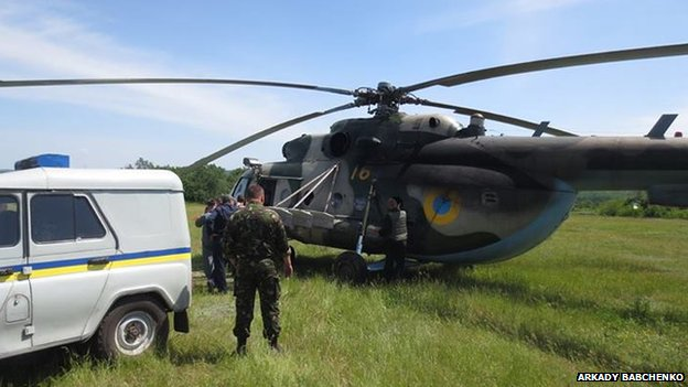 Ukrainian army helicopter before being shot down (29 May)