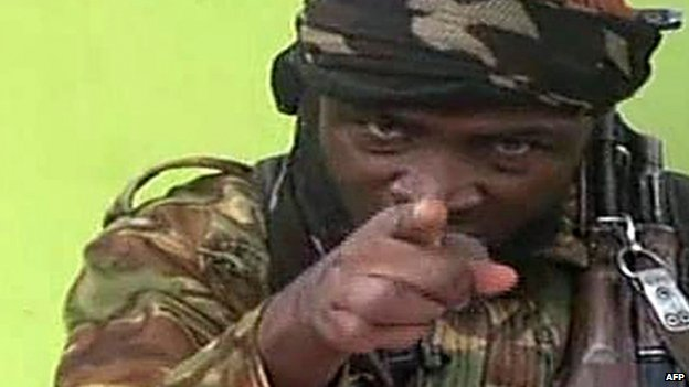 Screen grab from a video released in May 2014 showing Boko Haram leader Abubakar Shekau