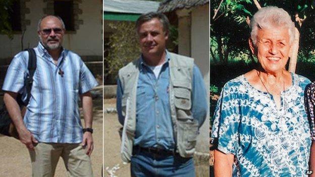 (l-r) Gianantonio Alllegri, Giampaolo Marta and Gilberte Bussier