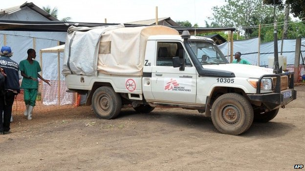Medecin Sans Frontieres vehicle in Guinea where the Ebola outbreak was first reported