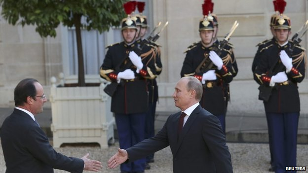 Francois Hollande meets Vladimir Putin in Paris - 5 June