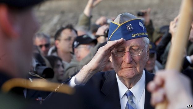 A US veteran saluted at a D-Day commemoration event