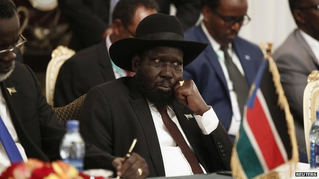 South Sudan's President Salva Kiir attends an urgent session for the Summit of the Inter-Governmental Authority on Development (IGAD) on South Sudan in Ethiopia's capital Addis Ababa on 10 June 2014.