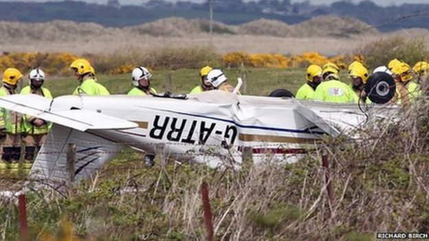 The light aircraft wreckage