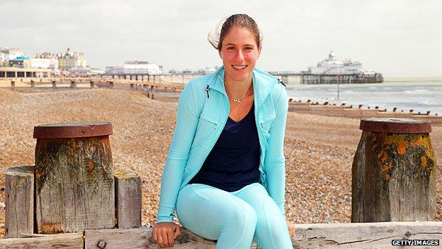 Johanna Konta on Eastbourne beach