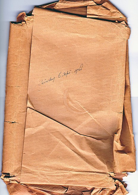 "The wrapping bearing the inscription  in Dutch ""Saturday 6 Sept. 1958"""