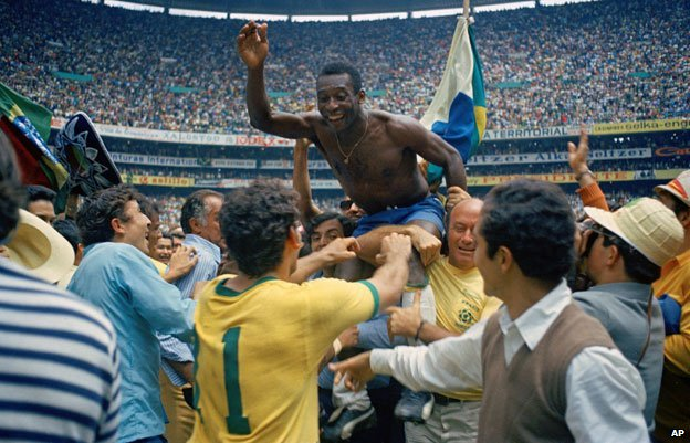 Pele and team-mates after winning 1970 World Cup final